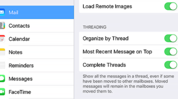 Apple iOS 10 Email Threading Options