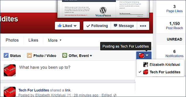 QuickTip: Change Who You're Posting/Liking/Commenting As on Your Facebook Page