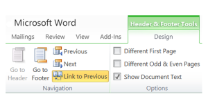 Microsoft Word: Header: Link to Previous
